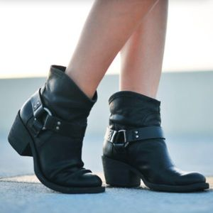 Lucky Bambi Black Leather Western Ankle Boots